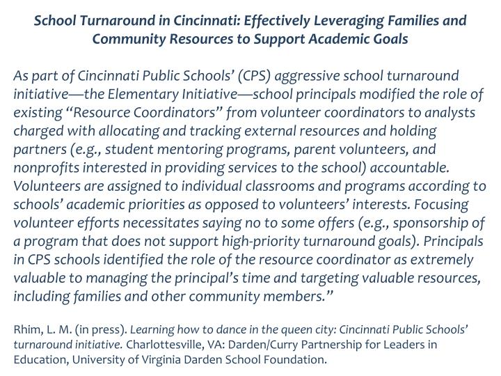 School Turnaround in Cincinnati: Effectively Leveraging Families and Community Resources to Support Academic Goals
