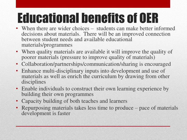 Educational benefits of oer