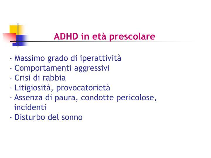 ADHD in età prescolare