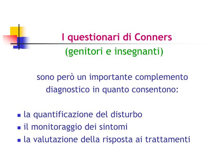 I questionari di Conners