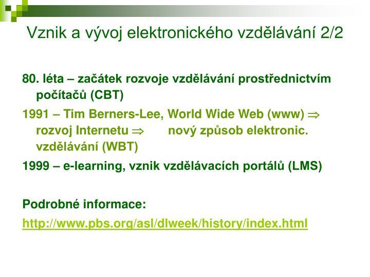 Vznik a vývoj elektronického vzdělávání 2/2