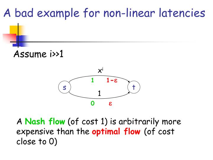 A bad example for non-linear latencies