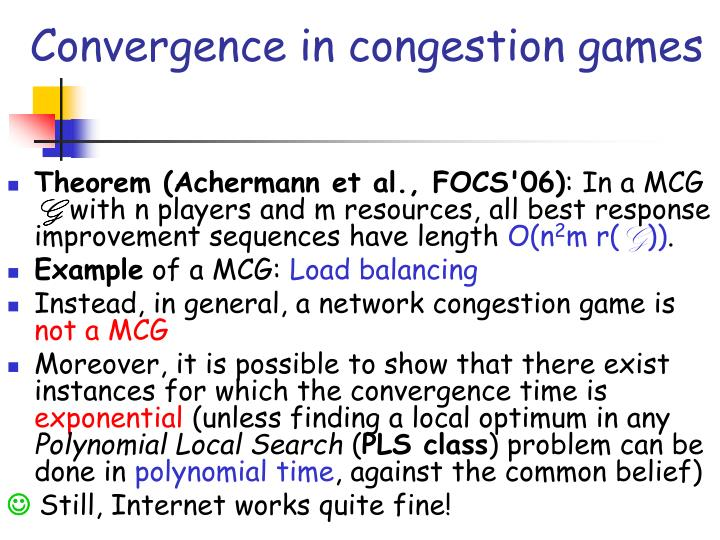 Convergence in congestion games