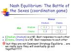 nash equilibrium the battle of the sexes coordination game