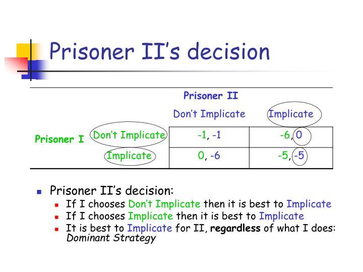 Prisoner II's decision
