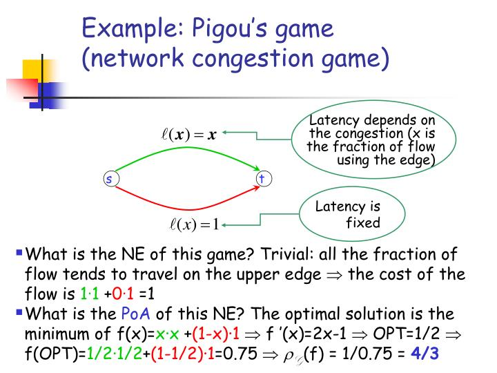Example: Pigou's game (network congestion game)