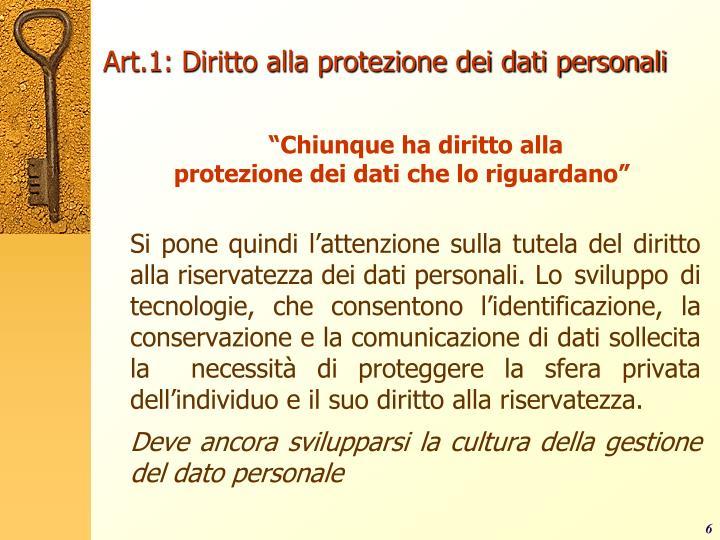 Art.1: Diritto alla protezione dei dati personali