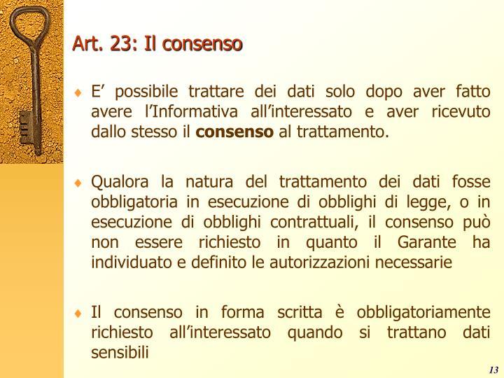 Art. 23: Il consenso