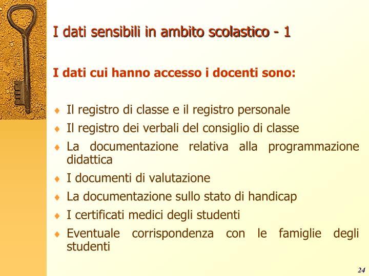 I dati sensibili in ambito scolastico - 1