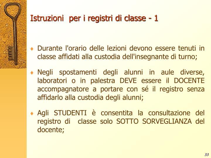 Istruzioni  per i registri di classe - 1