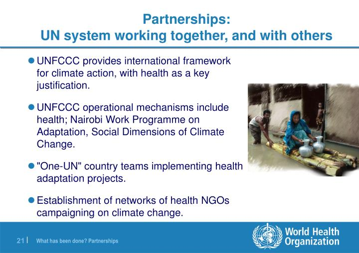 UNFCCC provides international framework for climate action, with health as a key justification.