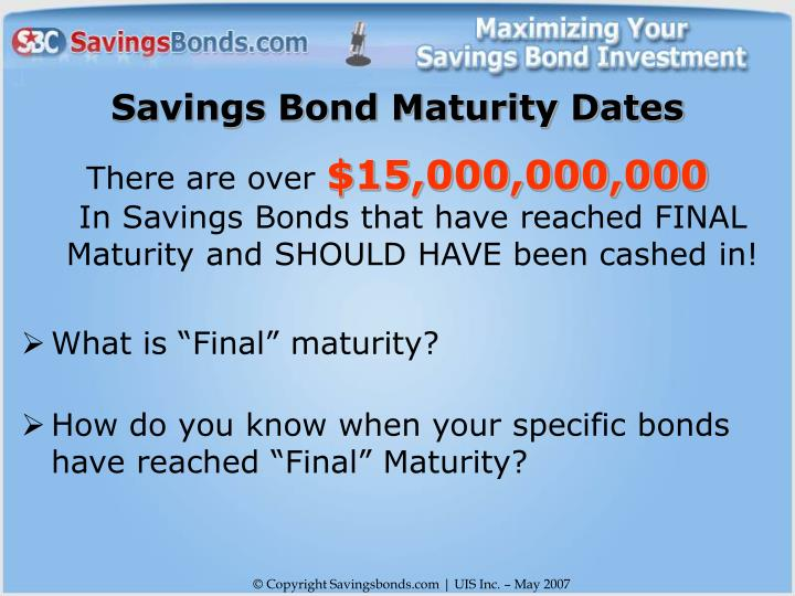 Savings Bond Maturity Dates