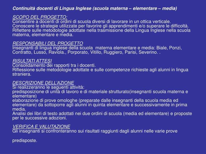 Continuità docenti di Lingua Inglese (scuola materna – elementare – media)