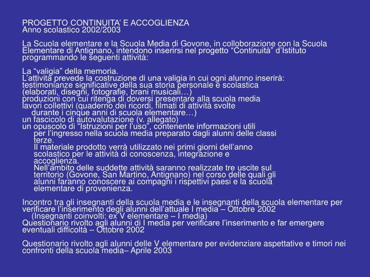 PROGETTO CONTINUITA' E ACCOGLIENZA