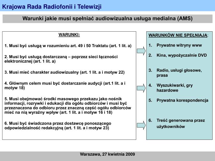 Warunki jakie musi spełniać audiowizualna usługa medialna (AMS)