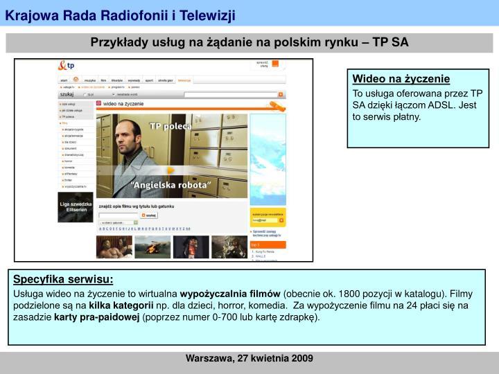 Przykłady usług na żądanie na polskim rynku – TP SA