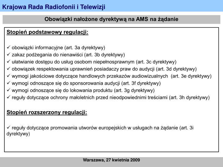 Obowiązki nałożone dyrektywą na AMS na żądanie
