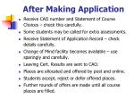 after making application