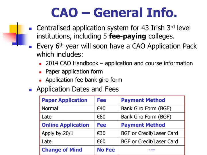 CAO – General Info.