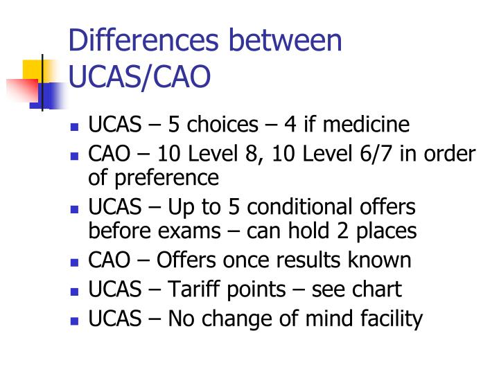 Differences between UCAS/CAO