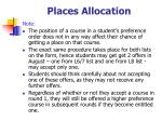 places allocation