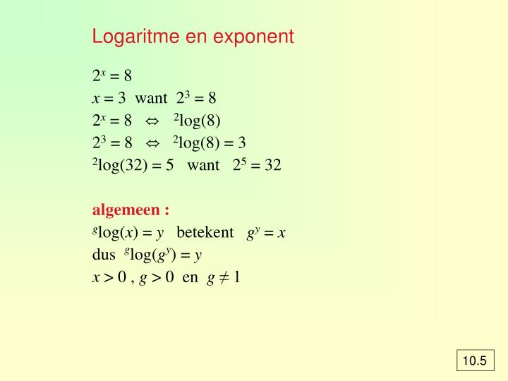 Logaritme en exponent