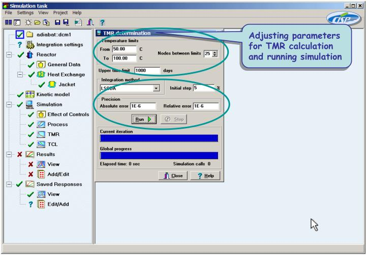 Adjusting parameters for TMR calculation and running simulation