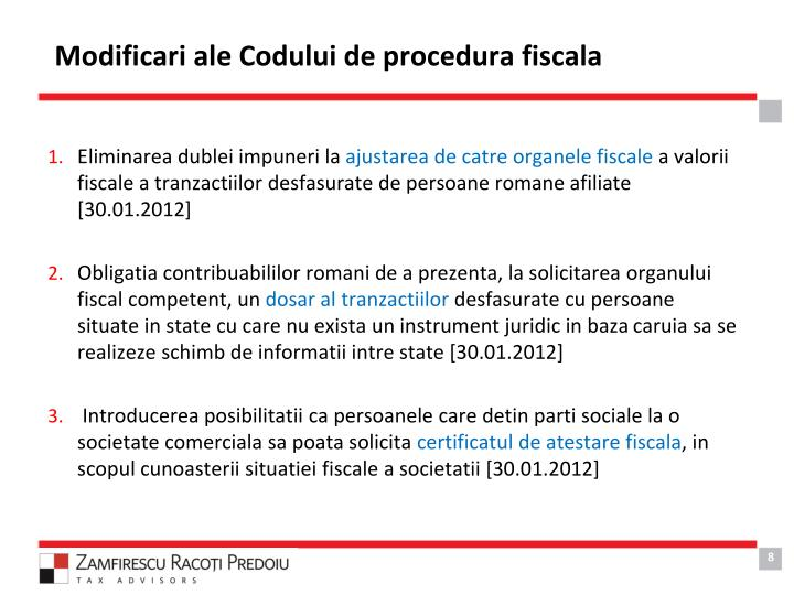 Modificari ale Codului de procedura fiscala