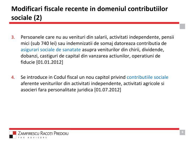 Modificari fiscale recente in domeniul contributiilor sociale (2)