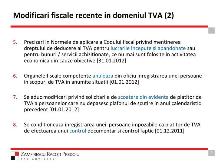 Modificari fiscale recente in domeniul TVA (2)