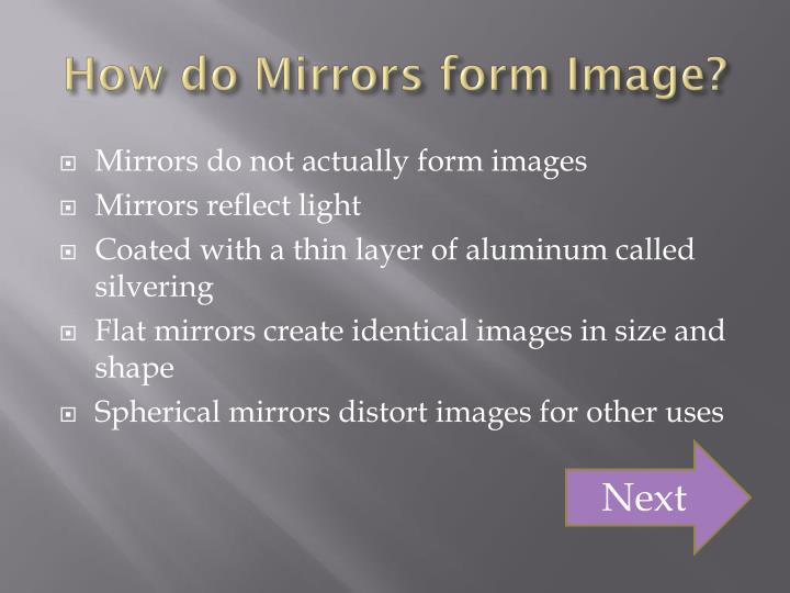 How do Mirrors form Image?