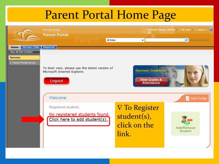 Parent Portal Home Page