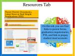 resources tab