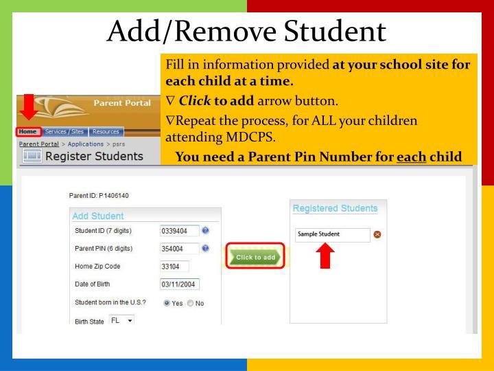 Add/Remove Student