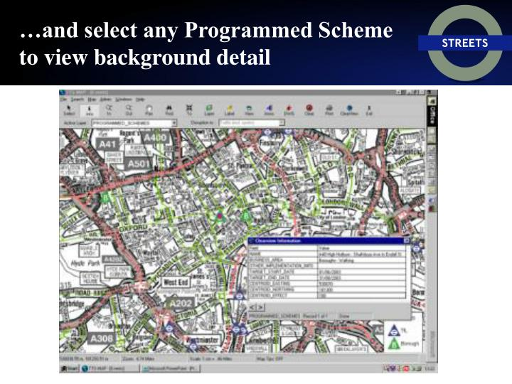 …and select any Programmed Scheme to view background detail