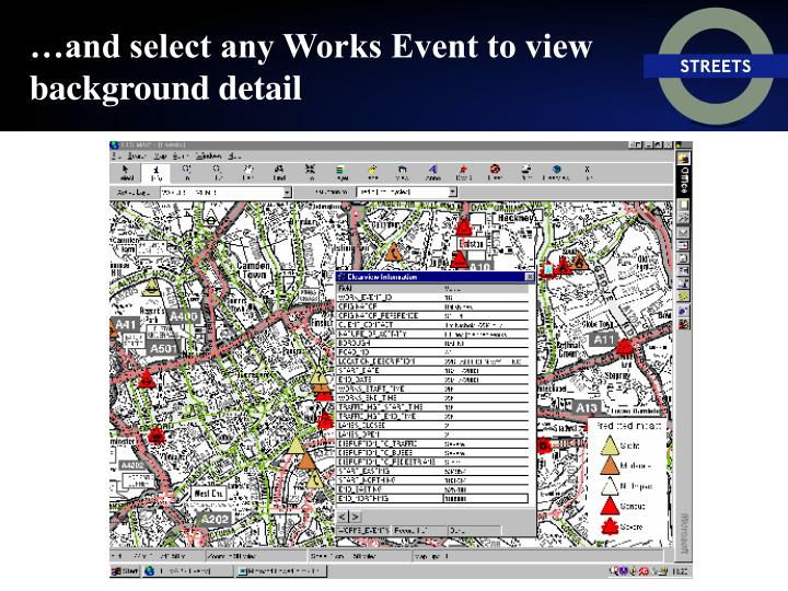 …and select any Works Event to view background detail