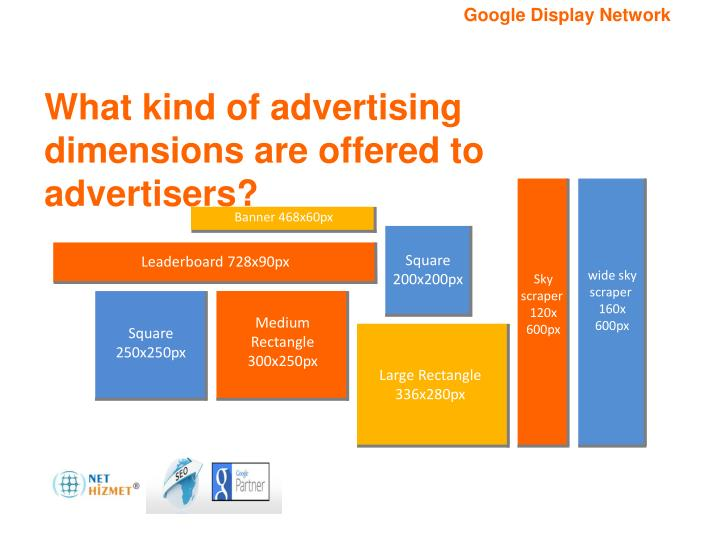 What kind of advertising dimensions are offered to advertisers?
