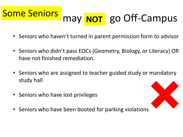Seniors who haven't turned in parent permission form to advisor