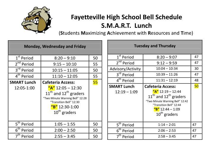 Fayetteville High School Bell Schedule