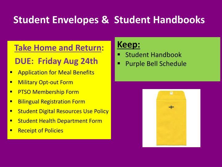 Student Envelopes &  Student Handbooks