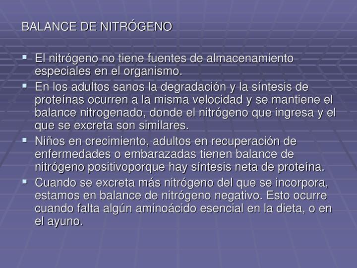 BALANCE DE NITRÓGENO