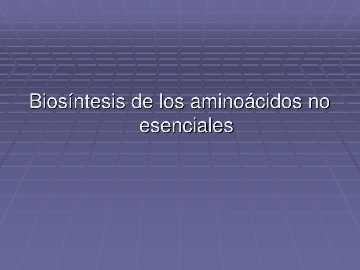 Biosíntesis de los aminoácidos no esenciales