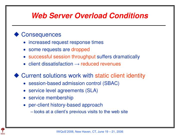 Web server overload conditions