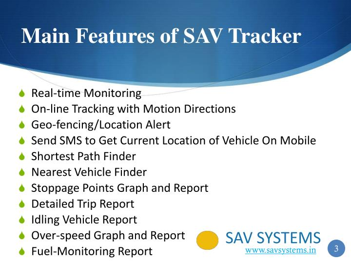 Main features of sav tracker
