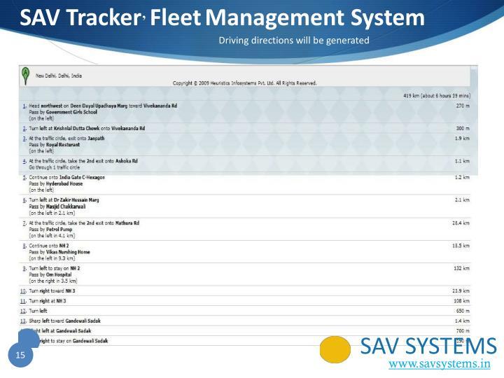 SAV Tracker