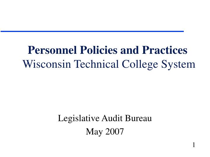 Personnel policies and practices wisconsin technical college system