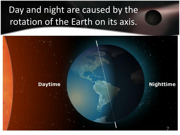 Day and night are caused by the rotation of the Earth on its axis.