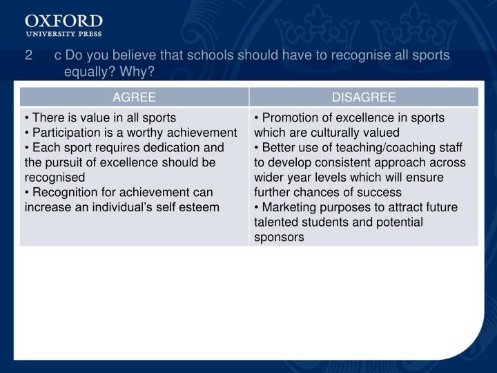2c Do you believe that schools should have to recognise all sports equally? Why?