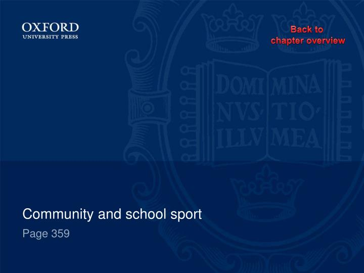 Community and school sport