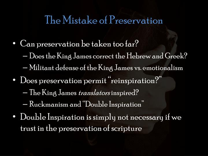 The Mistake of Preservation